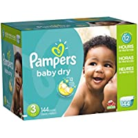 144 Count Pampers Baby Dry Diapers, Giant Pack Size 3