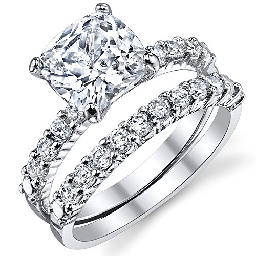 Fabulous Cushion Cut Cubic Zirconia Sterling Silver 925 Wedding Engagement Ring Band Set 6 (Cushion Cut Engagement Rings compare prices)