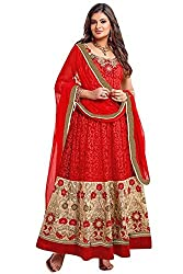 Vibes Womens Georgette Patch Work Anarkali Dress Material (V157-1202 _Red _Free Size)