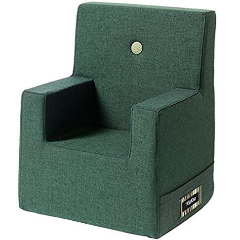 by KlipKlap Kids Chair - Dark Green with Light Green Button