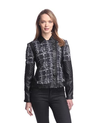 W118 by Walter Baker Women's Terry Tweed Jacket with Faux Leather  [Navy/Black]