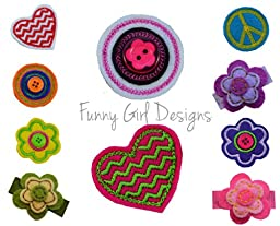 Girls Set of 10 Hair Clips and FREE Bow Holder By Funny Girl Designs (Baby Snap Clips, Felt Clips on Hot Pink Bow Holder)