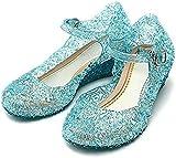 GenialES Disfraz Sandalias de Vestido con Tacón Plástico Princesa Queen Balnco para Cumpleaños Carnaval Fiesta Cosplay Niña EU30-EU35