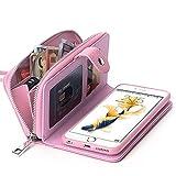 【BRG】財布 + iphone ケース 合一になった!6/6s plus用 レーザ アイフォン ケース カバー 分離可能手帳型、高機能財布型、ストラップ付き( iPhone 6/iPhone 6s plus ピンク )【18ヶ月間保証付き】