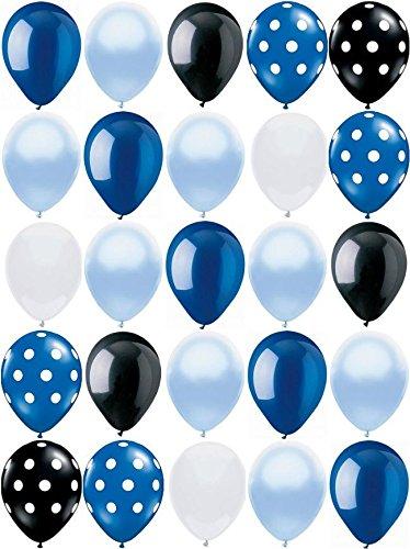 25ct Polka Dot BOYS MIX Blue, Black & White 11