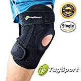 TugSport Knee Brace with Dual Side Stabilizer, Open Patella, Breathable Neoprene - Best for ACL, Meniscus Tear, Arthritis, and Injury Recover (Medium)