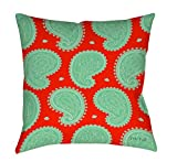 Thumbprintz Square Indoor/Outdoor Pillow, 18-Inch, Paisley Floral, Mint