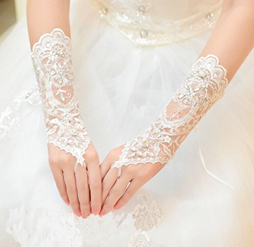 Sunshinesmile Bridal Lace Rhinestone Fingerless Gloves for Wedding Party Prom White