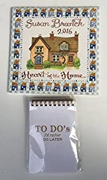 2 Item 2016 Calendar Bundle - 1-2016 Small Susan Branch Heart of The Home Calendar and 1- Notepad Notes Of A Very Busy Person