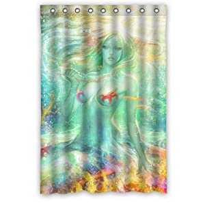 Pretty marine vintage mermaid waterproof for Mermaid bathroom decor vintage