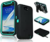 [180 Days Warranty] Zerolemon Teal Mint / Midnight Black Zero Shock Series for Samsung Galaxy Note 2 N7100 - Covers All Battery Sizes - Worlds Only Universal Form Fitting Case. Rugged Hybrid Case Includes Belt Clip and Kickstand Usa Patent Pending