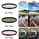 Filter Set 55mm CPL / Circular Polarizer Filter + UV Filter + Fluorescent Filter-Daylight, or FL-D, FLD for Pentax K-r K-5 K-7 K-x K-m Canon EOS 1000D 450D Sony A350 700 900 Nikon D3000 D5000 and fit for Camera with any 55 mm Diameter Lens
