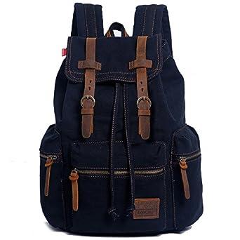 EcoCity Vintage Canvas Backpack Rucksack Schoolbag (black)