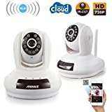ANNKE SP1 2-Pack 1280 x 720p HD Wireless Pan/Tilt Wi-Fi IP Camera with Two-Way Audio Build in Mic and Speaker Phone Remote Monitoring and 7/24 Day Night Vision