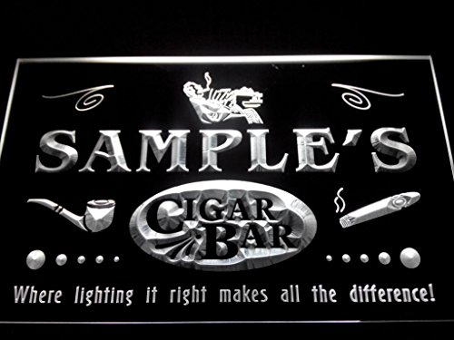 C B Signs Custom Personalized Led Sign Smoking Lounge Cigar Bar Neon Light Sign - Great Personalized Gift Idea! - White