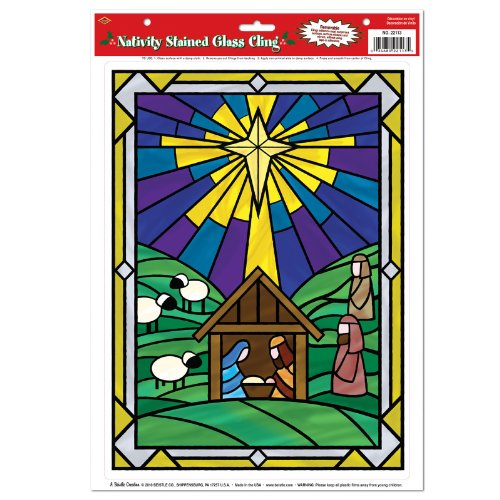 Nativity Stained Glass Cling Party Accessory (1 count) (1/Sh) - 1