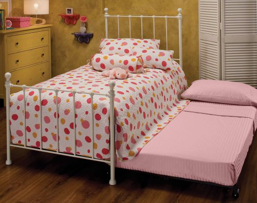 Hillsdale Furniture 1222Btwhtr Molly Bed Set With Rails And Trundle, Twin, White front-1020557
