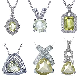 Vir Jewels Sterling Silver Lemon Quartz Pendant With 18 Inch Chain