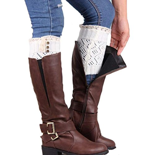 DEESEE(TM) Leg Cuffs Boot Socks Women Lace Stretch Boot Leg Cuffs Boot Socks (White) (Rain Boot Short Socks compare prices)