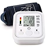 Automatic Arm Blood Pressure Monitor Voice Broadcast High Blood Pressure Monitors Portable LCD Screen Irregular Heartbeat Monitor with Adjustable 8.6-12.6Inch Cuff and Storage Bag Powered by Battery (Color: White-a11)