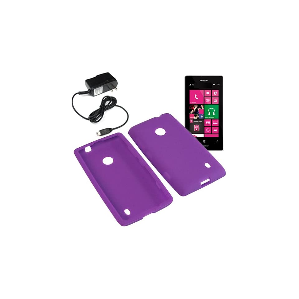 Aimo Silicone Sleeve Gel Cover Skin Case for T Mobile Nokia Lumia 521 + Travel Charger Purple Cell Phones & Accessories