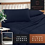 Premium King Size Sheets Set - Dark Navy Blue Hotel Luxury 4-Piece Bed Set, Extra Deep Pocket Special Super Fit Fitted Sheet, Best Quality Microfiber Linen Soft & Durable Design + Better Sleep Guide