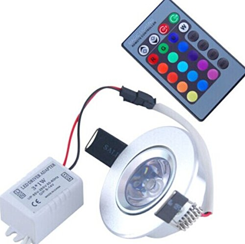 Rextin 3W Rgb Colorful Led Ceiling Downlight Recessed Cabinet Spot Light Bulb +Ir Remote Control