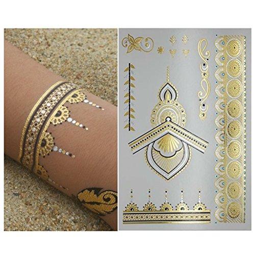 Henna metallic flash temporary tattoo 6 sheets gold for Black gold tattoo