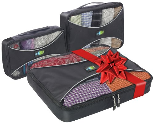 Travel Packing Cubes. 3-pc. Large, Medium and Small value set for luggage and suitcase., Bags Central