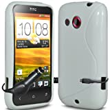 ONX3 - TRIPLE PACK - HTC Desire C White Wave Gel Skin Case Cover + Micro USB In Car Charger + LCD Screen Protector Guard
