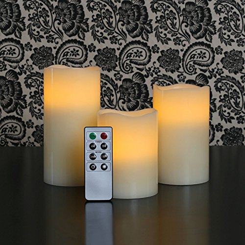 Set Of 3 Ivory Wax Wavy Edge Flameless Pillar Candle Variety Set With Remote And Timer - Batteries Included