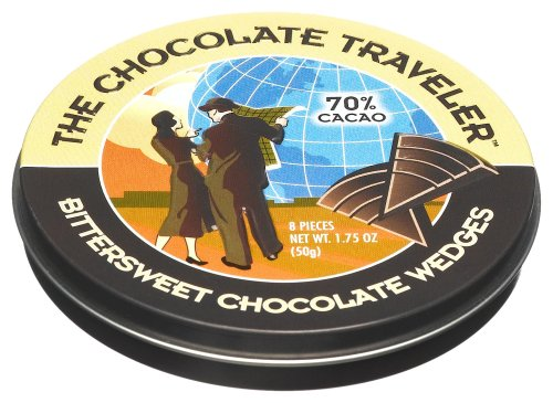 The Chocolate Traveler Bittersweet Chocolate Wedges, 1.75-Ounce Tins (Pack of 12)