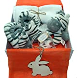 'Soft and Stripy' - New Baby Gift Hamper- Gift Box -soft & snuggly zebra booties & zebra soft rattle - 100% cotton muslin - handmade bath melts for Mum.
