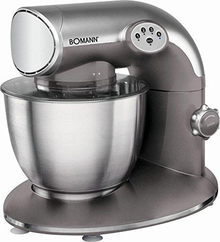 Bomann Küchenmaschine 1200 Watt mit Edelstahl-Schüssel 5,6 Liter (Knetmaschine, Rührmaschine, Schneebesen, Spritzschutzdeckel, rot)