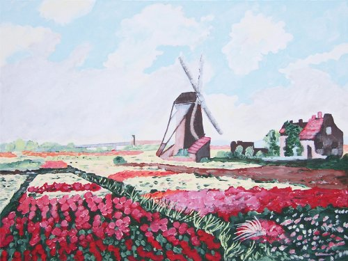 Claude Monet TULIP FIELDS WITH WINDMILL Paint Kit