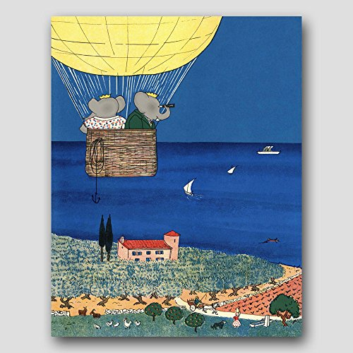 Hot Air Balloon Nursery Art (Baby Wall Decor, Kids Room Print)