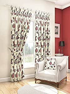 """Modern Fresh Red Cream Floral Leaf Curtains Lined Pencil Pleat 66"""" X 72"""" #asor from PCJ SUPPLIES"""
