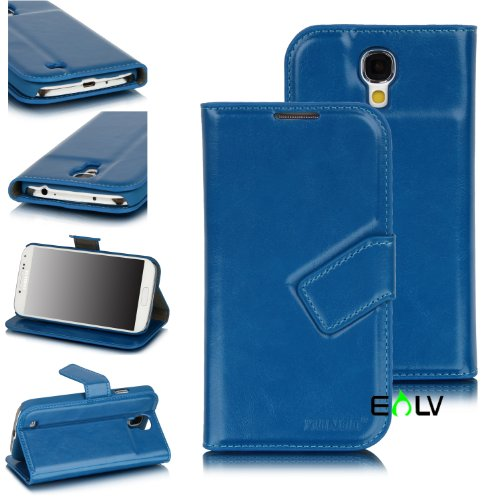 E-LV(TM) XunDD Premium Polished PU Leather Stand Book Shell Wallet Protection Case Cover with Credit Card/ID holders for Samsung Galaxy S4 i9500 with AUTOMATIC WAKE AND SLEEP FUNCTION (Samsung Galaxy S4, Blue)