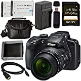 Nikon COOLPIX B700 Digital Camera 26510 + EN-EL23 Lithium Ion Battery + External Rapid Charger + Sony 64GB SDXC Card + Small Case Bundle