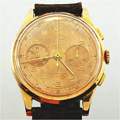 18k Solid Rose Gold Chronograph Vintage Watch, 1940's: Vintage Watches