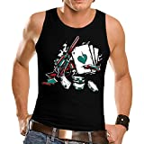 Wellcoda Wild West Poker Gun Men's NEW Player Gambler Inked Cowboy Sixgun Gunslinger Card Shark Gamble Casino Winning Tank Top S-2XL