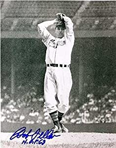 Bob Feller autographed 8x10 photo (Cleveland Indians) inscribed HOF 62