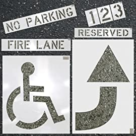 Parking Lot Stencils Large Kit - Handicap, No Parking, Etc.