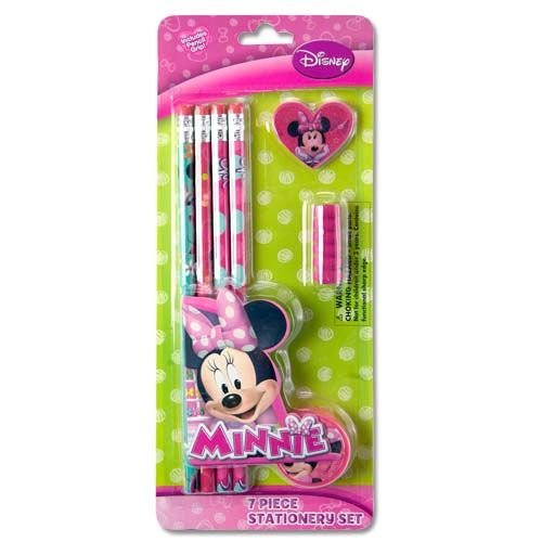 Minnie Mouse Bowtique 7 Piece School Supplies & Stationery Set Includes: 4 wood pencils, 1 eraser, 1 sharpener & 1 pencil grip