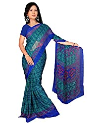 LOVELY LOOK Blue & Green Printed Saree