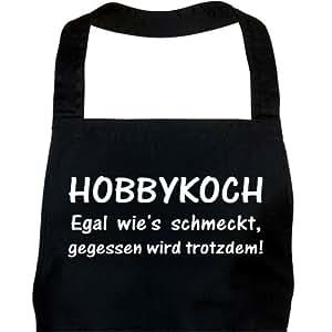 Schürze HOBBYKOCH schwarz / Grillschürze, Kochschürze, Küchenschürze, Latzschürze 100% Baumwolle, 70 x 85 cm, mit verstellbarem Nackenband und aufgesetzter Tasche vorne.
