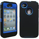 GEARONIC TM Black & Blue Three Layer Silicone PC Case Cover for iPhone 4 4G 4S