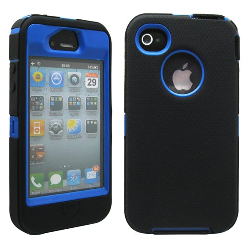 GEARONIC TM Black & Blue Three Layer Silicone PC Case Cover for iPhone 4 4G 4S (Iphone 4 Silicone Cover compare prices)