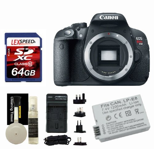 Canon T5i Body + 64GB + Battery + Travel Charger + Cleaning Kit