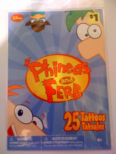 Disney Phineas and Ferb Temporary Tattoos (25 tattoos)